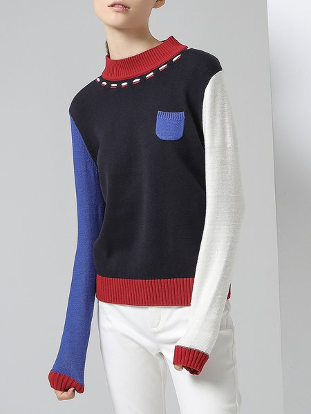 Dark Blue H-line Color-block Cotton-blend Casual Sweater