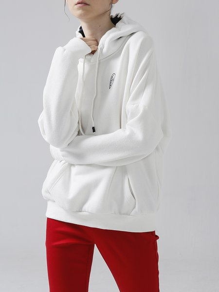 Casual Long Sleeve Pockets Cotton-blend Hoodies And Sweatshirt