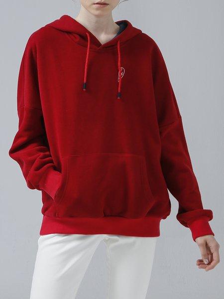 Crimson Plain Long Sleeve Hoodie Cotton-blend Sweatshirt