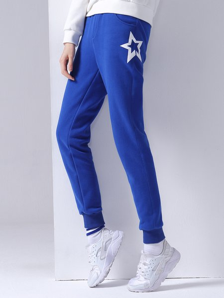 Blue Star Cotton-blend Pockets Sports Track Pants