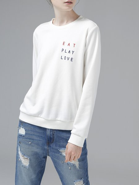 Casual Embroidered Long Sleeve Hoodies And Sweatshirt