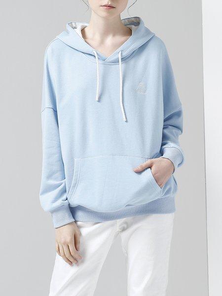 Sky Blue Long Sleeve Solid Pockets Hoodies And Sweatshirt
