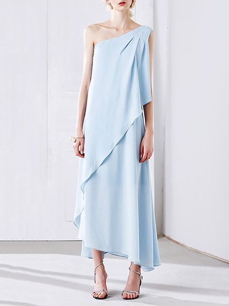 Light Blue Asymmetric One Shoulder Elegant Maxi Dress