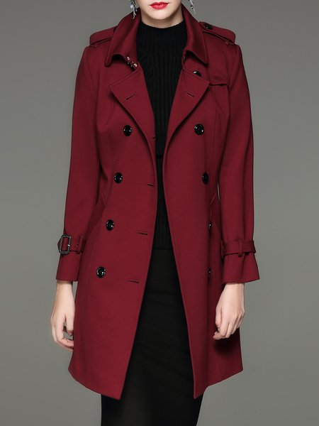 A-line Lapel Long Sleeve Cotton-blend Casual Coat with Belt