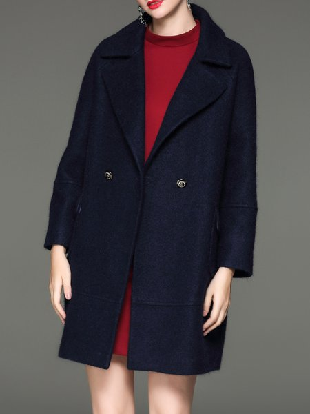 Navy Blue Long Sleeve H-line Wool Blend Coat