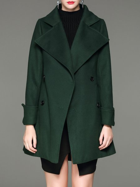 Dark Green Casual Solid Cotton-blend Lapel Coat