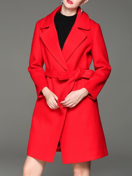 Red Long Sleeve Wool Blend Lapel Symmetric Coat with Belt
