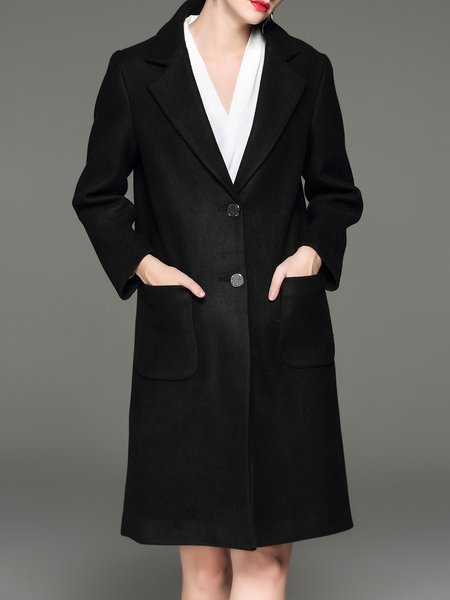 Black Long Sleeve Lapel Wool Blend Symmetric Coat