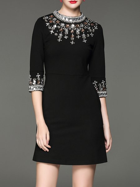 Black Beaded Cotton-blend 3/4 Sleeve Mini Dress