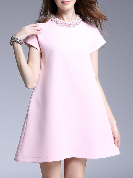 A-line Cotton-blend Elegant Beaded Mini Dress