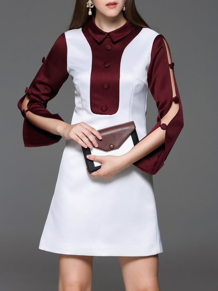 White Bell Sleeve Color-block Slit Mini Dress