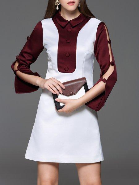 White Bell Sleeve Color-block Slit Mini Dress