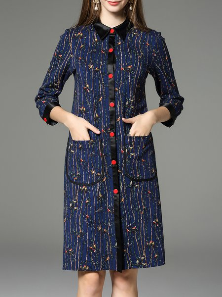Blue Shirt Collar Casual Printed H-line Shirt Dress