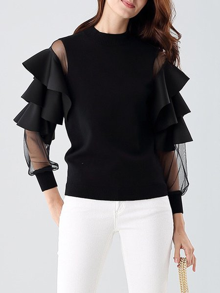 Statement Knitted Frill Sleeve Crew Neck Plain Sweater