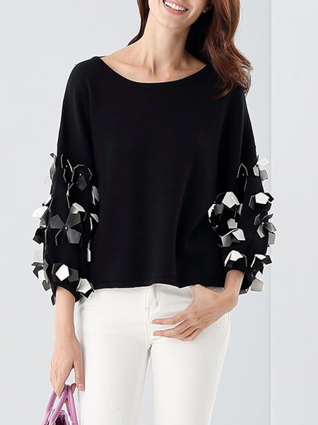 Plain Long Sleeve Appliqued Crew Neck Elegant Sweater