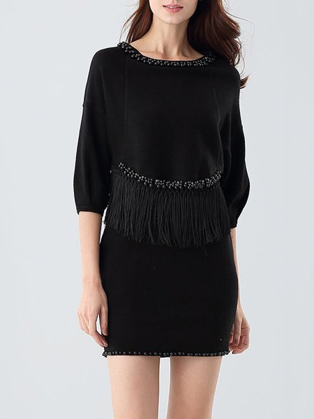 Fringed Casual Long Sleeve Polyester Two Piece Mini Dress