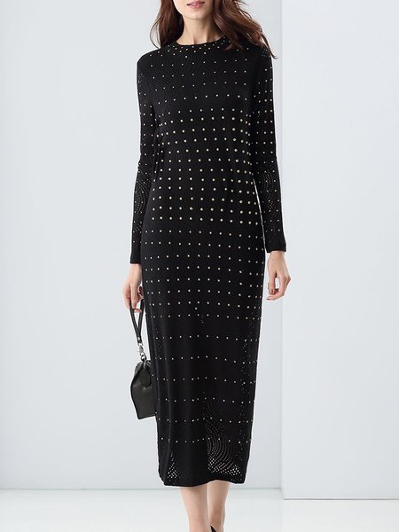 Black Long Sleeve Beaded H-line Midi Dress