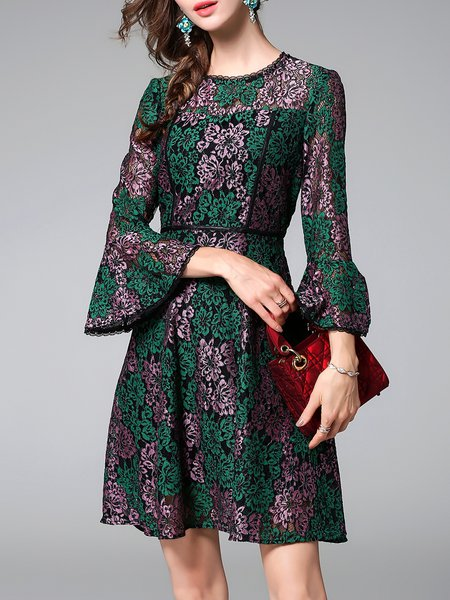 Green  A-line Bell Sleeve Midi Dress