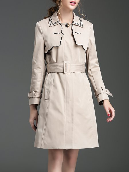 Khaki Long Sleeve Embroidered H-line Coat