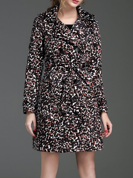 Black Long Sleeve Leopard Print Polyester Coat