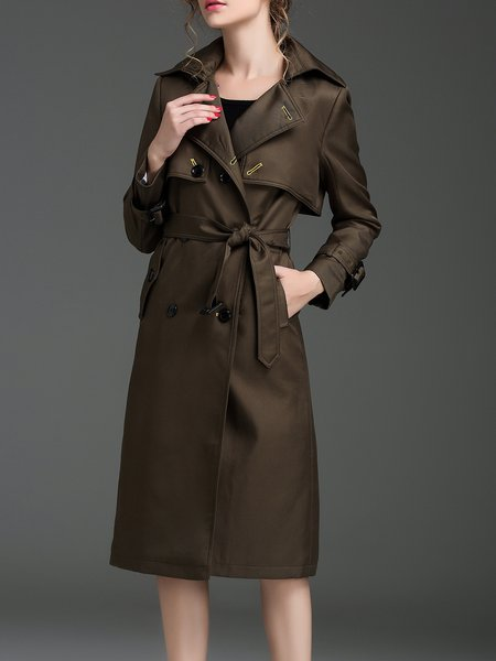 Army Green Solid Long Sleeve H-line Lapel Trench Coat