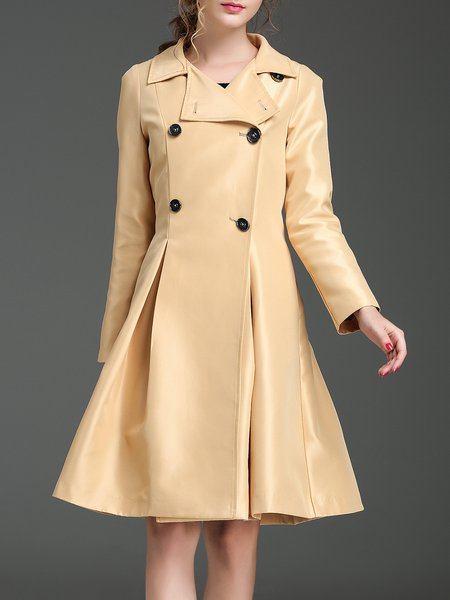 Yellow Solid A-line Long Sleeve Polyester Coat