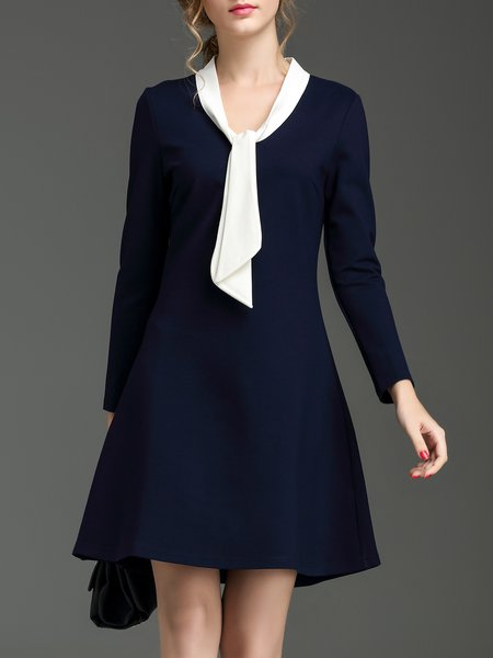 Navy Blue Long Sleeve A-line Stand Collar Midi Dress