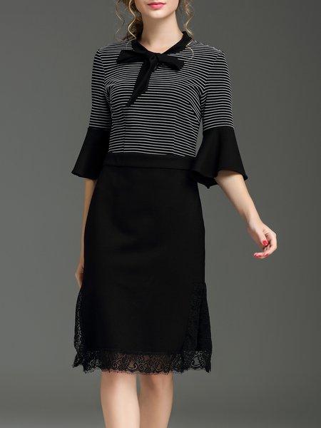Black Crew Neck Frill Sleeve Sheath Midi Dress