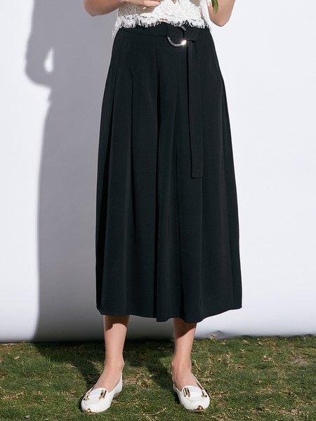 Black Solid Simple Wide Leg Pants
