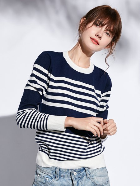 Long Sleeve Casual Knitted Cotton-blend Sweater