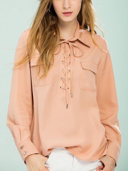 Pockets Long Sleeve Rayon Blouse