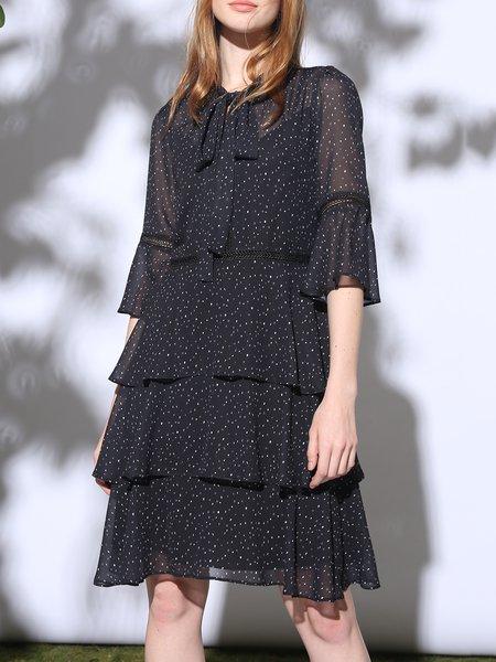 Black Frill Sleeve Tiered Tie-neck A-line Chiffon Dress