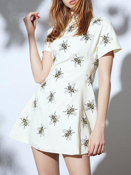 White Animal Print Casual Folds Mini Dress