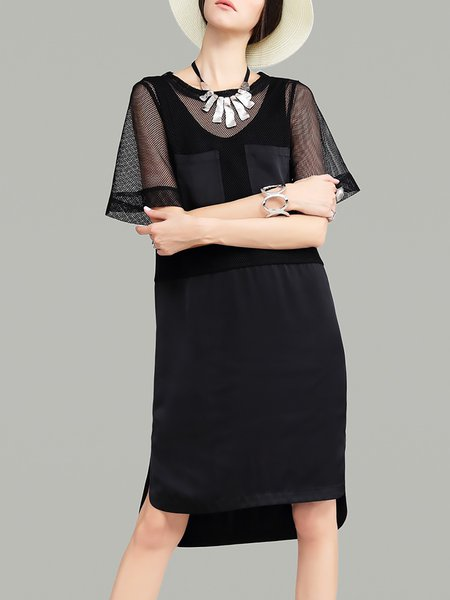 Black Mesh Plain Simple Shift Midi Dress