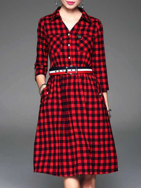 Red 3/4 Sleeve Shirt Collar Checkered Midi Dress with Belt