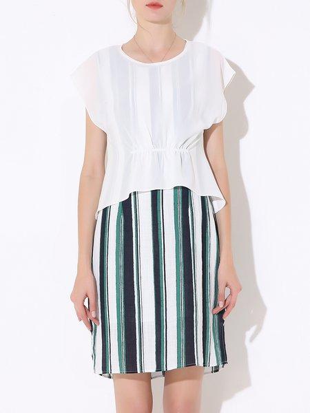 Green Stripes Crew Neck Casual Two Piece Midi Dress