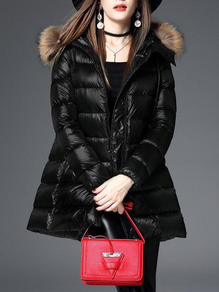 Black Solid Casual Hoodie Down Coat
