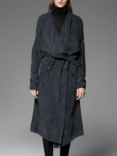 Navy Blue Silk Shift Casual Pockets Trench Coat