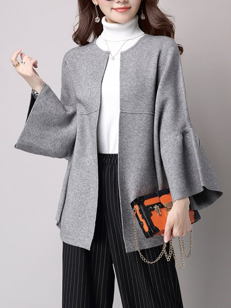 Gray H-line Frill Sleeve Plain Simple Coat