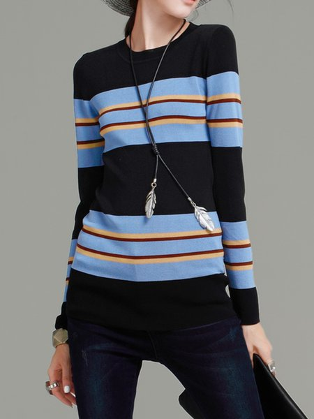 Long Sleeve Sheath Casual Color-block Sweater