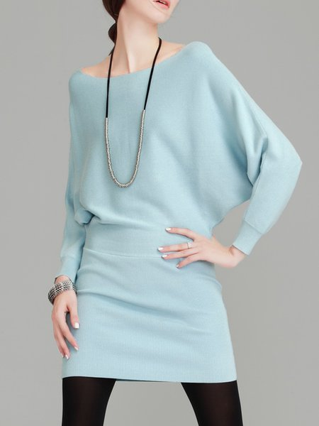 Sky Blue Ribbed Batwing Solid Mini Dress