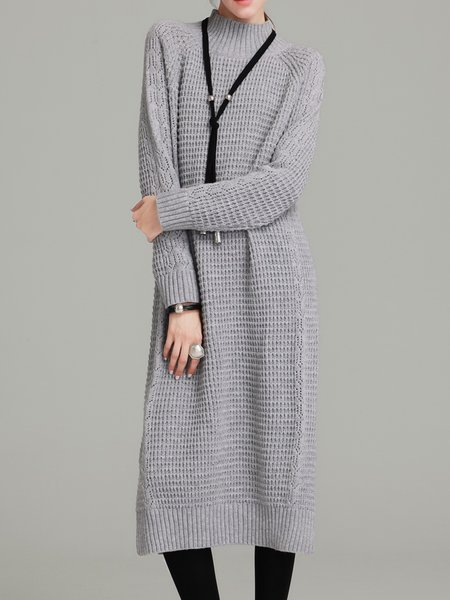 Light Gray Long Sleeve Shift Knitted Slit Sweater Dress