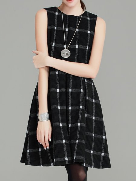 Sleeveless Checkered/Plaid Crew Neck Ribbed Mini Dress