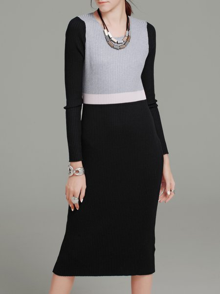 Black Color-block Long Sleeve Sheath Sweater Dress