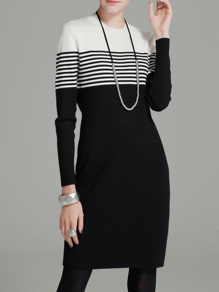 Black Stripes Sheath Long Sleeve Sweater Dress