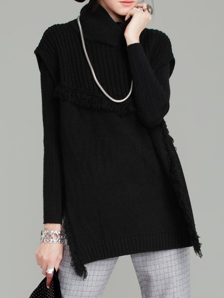 Black Fringed Sleeveless Solid Slit Sweater