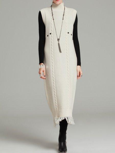 Casual Sleeveless Turtleneck Cotton-blend Sweater Dress