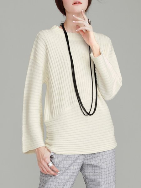 Ribbed Long Sleeve Casual Knitted Sweater