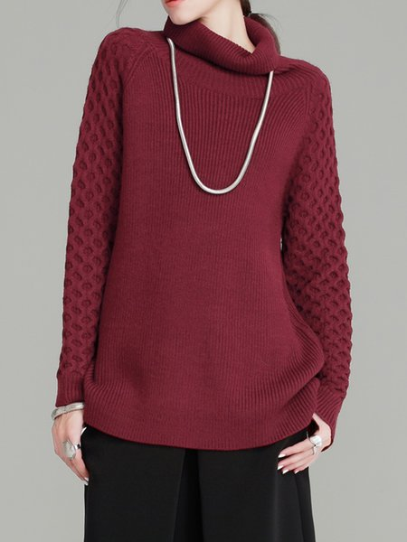 Casual Turtleneck Knitted Plain Sweater