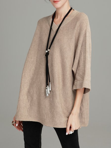 Camel Plain Knitted 3/4 Sleeve Slit Sweater